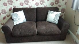 Matching pair of chocolate sofas £100