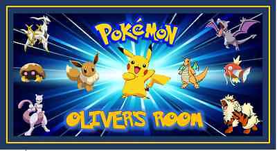 POKEMON Personalised Name Plaque/Door/Wall Sign Childrens Laminated