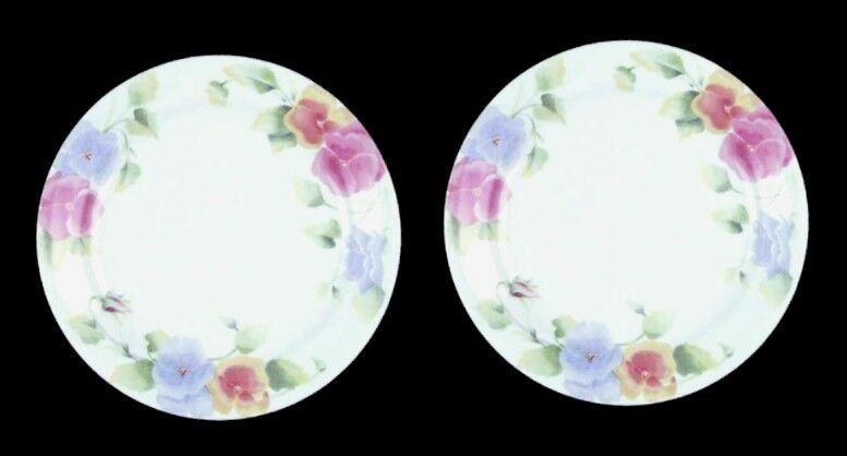 "2 Corelle SUMMER BLUSH Pansy Pansies 7"" Cake Pie Bread & Butter Plates Corning"