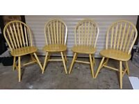4 Pine Kitchen Chairs, Dining Chairs