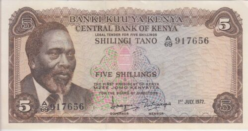 KENYA BANKNOTE P6c-7656  5 SHILLINGS 1972,EF