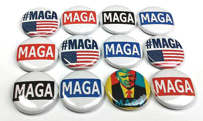 """12 DONALD TRUMP MAGA One Inch Buttons 1"""" Pinback Pins MAKING AMERICA GREAT AGAIN"""