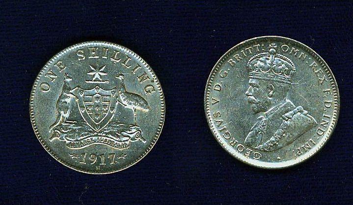 AUSTRALIA GEORGE V  1917-M  1 SHILLING SILVER COIN  XF+