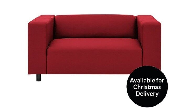 2 seater faux red leather sofa seatee