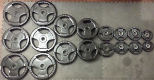 530LBS Olympic Bar Olympic Rubber Weight Plates Set