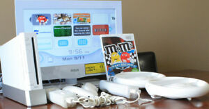 Wii Console, 2 Controllers, Steering Wheels, M & M's Kart Racing