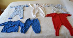 Size 12 mo. sleepers and pj's, $1.00 per pir