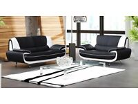 BRAND NEW CAROL 3 AND 2 SEATER SOFA SET IN BLACK RED, WHITE LEATHER FINISH, CORNER SUITE IN STOCK