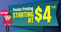 Poster Printing - $4 per sqft