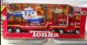 VINTAGE TONKA FIRE TRUCK & HELICOPTER RESCUE SET