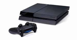 black ps4 500gb with 2 controllers and 3 games