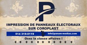 Impression de pancartes électorale en Coroplast au meilleur prix