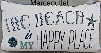 "Levtex Home Home Beach Happy Place 12"" X 24"" Decorative Pillow White / Blue"