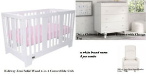 Brand Name New - Crib + Change Table + Glider Combo In White