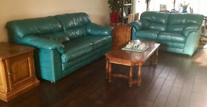 Leather furniture and oak tables