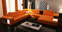 Modern Leather sectional Sofa w/Lights + Storage, ON SALE!