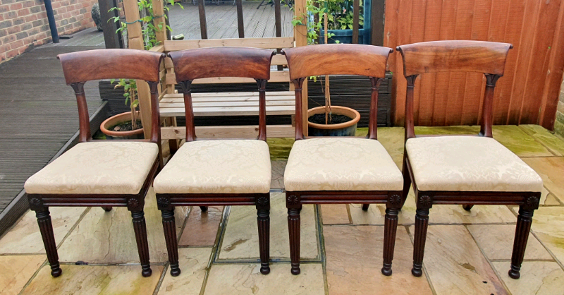 William Lv Georgian Mahogany Chairs Re Upholstered In