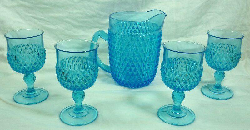 Vintage Turquoise Blue English Hobnail Pitcher & 4 Goblets 19G014