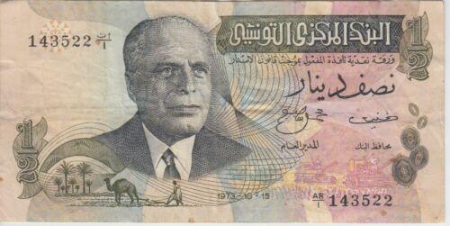 Tunisia Banknote P69r-3522 ½ Dinar 1973, replacement, F-VF