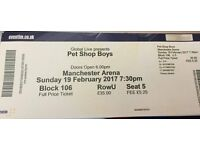 PET SHOP BOYS TICKET FOR MANCHESTER ARENA, SUNDAY 19 FEBRUARY 2017, 7.30pm