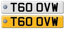 T60 OVW - Private Registration Number Plate - VW Transporter T6 No Fees
