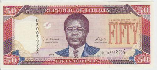 Liberia 50 Dollars 2008 Pick 29 UNC