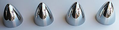 "4 Bullet Nose Bullet Hub cap centers NEW Chrome C8054  3.5"" Dia by 4.25"" high"
