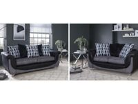 New Como black and grey 3+2 seater sofas FREE DELIVERY