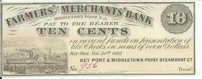 New Jersey Farmers  Merchants Bank 10 Cent Middletown 1862 Remainder  956