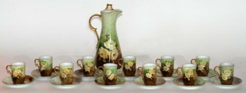 GORGEOUS HAND-PAINTED PORCELAIN, CHOCOLATE SET, CA. 1910