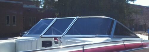 TAYLOR CURVED GLASS WINDSHIELD COMPLETE OFF A 1993 REINELL 19'  WINDOW TINTED
