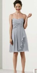 Short Crinkle Chiffon Dress with Front Cascade, Size 8/10