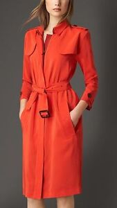 Authentic New Burberry Silk Orange/Red Trench Coat size US 10