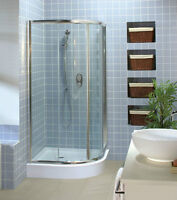 Maax shower kit,glass doors.round shower