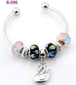 lampwork glass silver plated European beaded charm bracelet