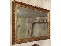 Large Patterned Bronze Coloured Framed Mirror