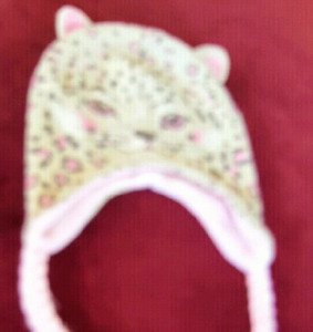 Girl's pink and tan cat toque - ages 4-8 - $4
