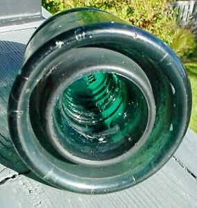 Antique 1900s Blue Glass railway Bee Hive shape insulator London Ontario image 2