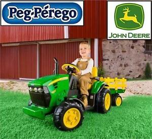 NEW PEG PEREGO RIDE-ON TRACTOR & TRAILER JOHN DEERE - 12V - GROUND FORCE OUTDOOR PLAY ELECTRIC RIDE ON TOY
