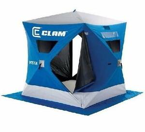 NEW CLAM VISTA ICE FISHING SHELTER   2-3 PERSON W ANCHORS AND TIE-DOWNS - TENTS OUTDOORS FISHING CAMPING  84592742
