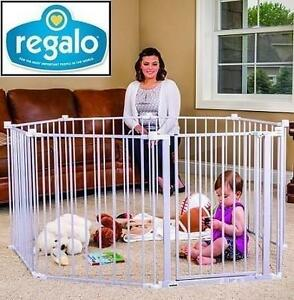 """NEW REGALO WIDE GATE  PLAY YARD 192"""" SUPER WIDE GATE AND PLAY YARD WHITE 109291135"""