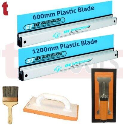 OX SPEEDSKIM METAL 600MM & 900MM + REFINA SUPERFLEX & PLAZIFLEX TROWEL, WALL BRUSH & SPONGE FLOAT