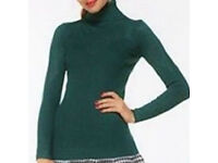 Ladies Green Turtle Neck Polo Neck Sweater Jumper Top.Size 10.