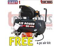 SEALEY SAC5020EPK COMPRESSOR 50 LITRE DIRECT DRIVE 2HP + 4PC AIR ACCESSORY KIT