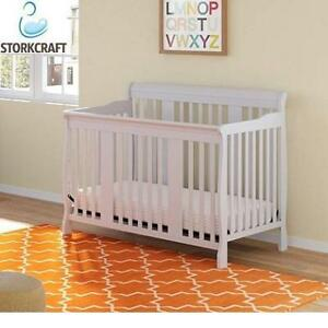 NEW STORKCRAFT TUSCANY 4 IN 1 CRIB 04588-491-FT 223491776 WHITE FIXED SIDE CONVERTIBLE BABY TODDLER STORK CRAFT