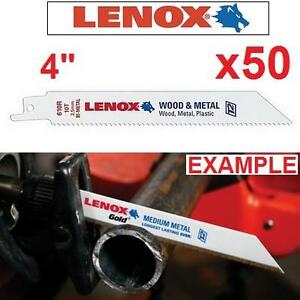 """50 NEW LENOX RECIPROCAL SAW BLADES - 101240554 - PACK OF 50 - 4"""" Long x 3/4"""" Wide x 0.035"""" x 14"""" TPI"""