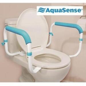 "NEW AQUASENSE TOILET SAFETY RAILS 770-660 178699754 FULL LENGTH PADDED ARMREST BATHROOM MOBILITY AID 15.5-18"" WIDE"
