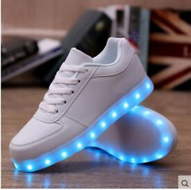 led light up usb charge trainers shoes yeezy kids adults