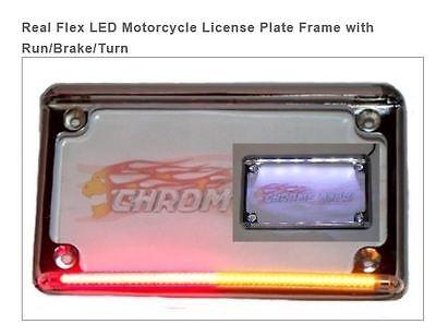 SPORTSBIKE LED MOTORCYCLE LICENSE PLATE FRAME RUN BRAKE TURN   CHROME GLOW  - Glow Led Products