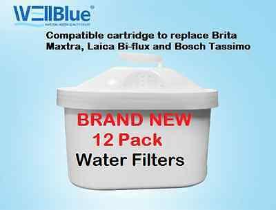 12pack Water Filter Cartridges Compatible Fits BRITA MAXTRA & Laica Bi-Flux